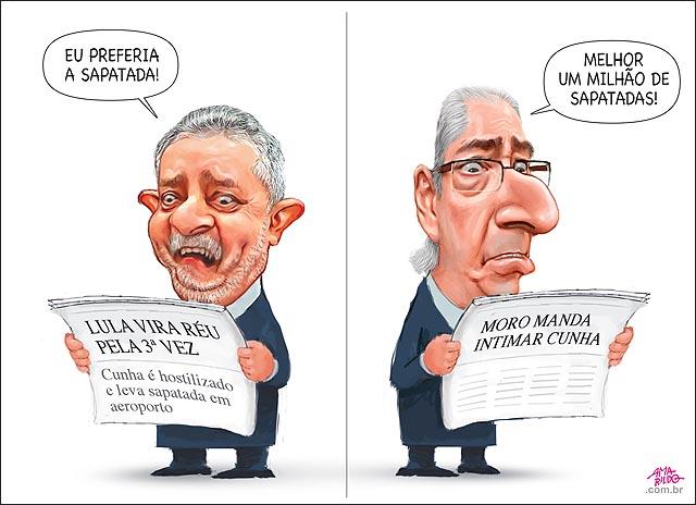 Lula jornal Cunha Jornal sapatada aeroporto proceso moro reu terceira vez