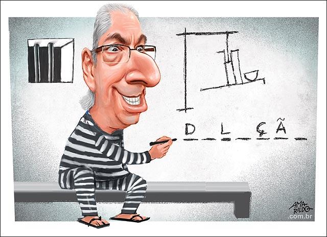 Cunha preso cadeia joguinho da forca delacao congresso desenhando parede cela cadeia