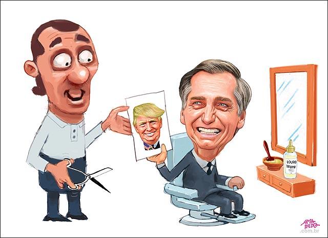 Bolsonaro Barbearia Cabelo Cor corte espelho tesoura igual ao trump presidente EUA