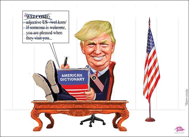 TRUMP primeira medida riscando a palavra welcome do dicionario de ingles sentado mesa bandeira eua presidente