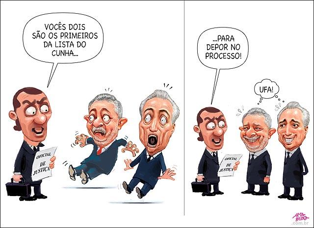 Lula e Temer primeiros na lista de Cunha para depor Susto desmaio oficial de justica