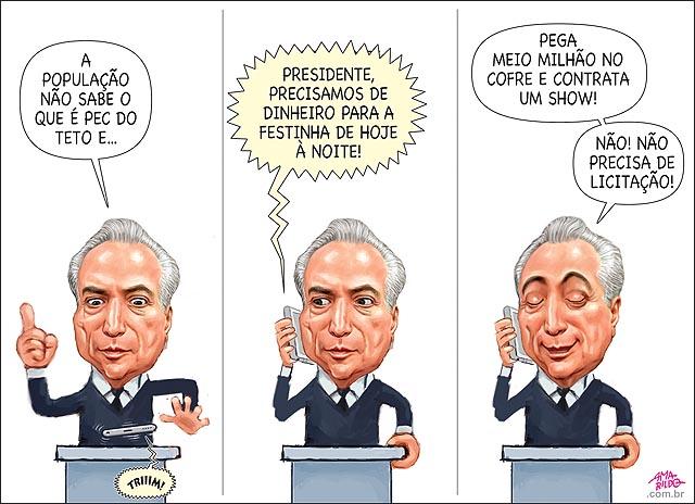 Temer populacao nao sabe o que PEC gasta meio milhao 500 mil com festa samba sem licitacao