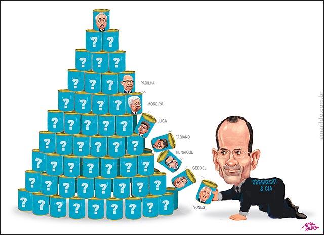 Marcelo odebrecht delacao premiadas Latas empilhadas ruindo 6 ministros geddel juca Moreira Franco Eliseu padrilha Jose Yunes Temer no topo