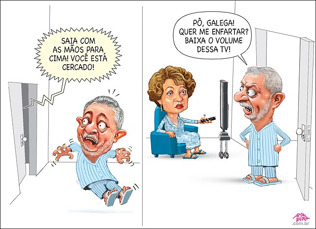Lula susto saia com as maos para cima marisa tv vendo filme policial sofa porta aberta delacao reu prisao