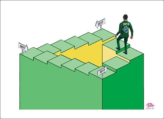 2016 ano novo Escada infinita Escher homem subindo costas 2017 2