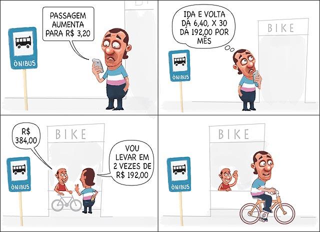Aumento passagem de onibus ponto loja bicicleta homem faz contas e compra bike 3 reais e vinte centavos
