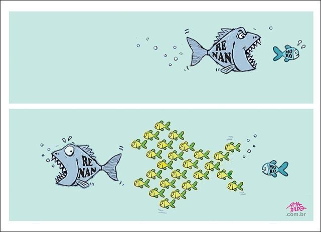 Renan peixe grande corre atras de peixes pequenos moro justica povo