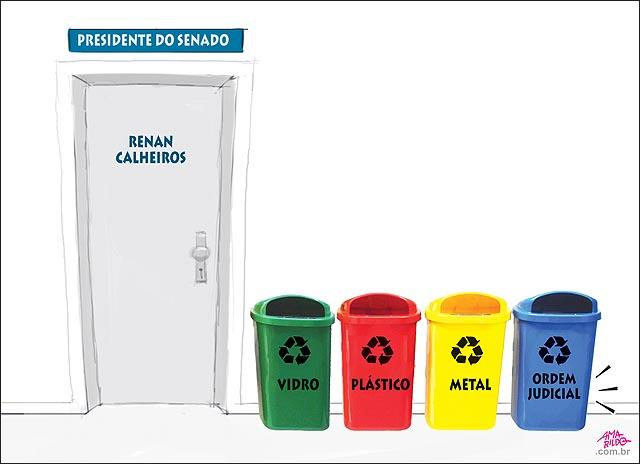 Porta sala presidente senado renancalheiros lixo reciclavel vidro plastico metal papael ordem judicial