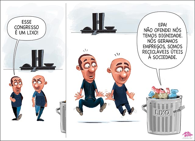 Lixo sendo comparado ao congresso exigindo respeito reciclavel util a sociedade dando emprego anda andando