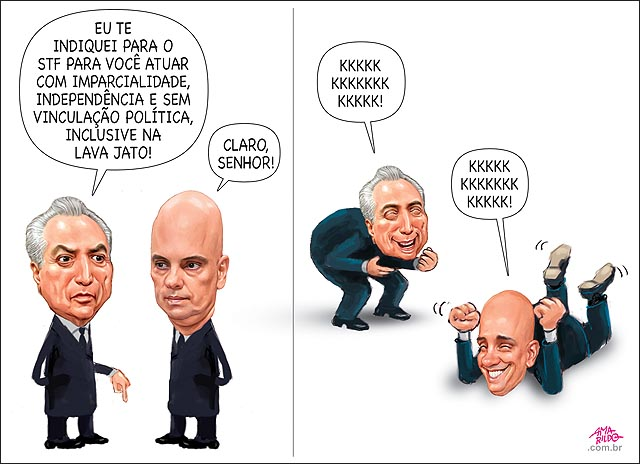 Temer Alexandre de Moraes Ministro do STF Imparcial e independente politico partidario na lava jato Kkkkkkkkkkk gargalhando rindo senado sabatina