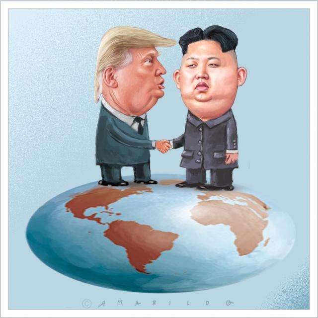 Ilustações antigas - Kim Jong-un e Donald Trump