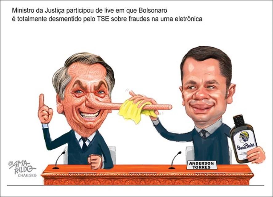 Bolsonaro, Live, ministro, da, justica, mentira, pinoqui, oleo, peroba, urna, eletronica, fraude, voto, impresso, eleicoes, 2022,